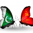 Stock Photo: Two butterflies with flags of Pakistand Soviet Union on wings
