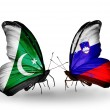 Stock Photo: Two butterflies with flags of Pakistand Slovenion wings