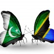 Stock Photo: Two butterflies with flags of Pakistand Tanzanion wings