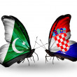 Stock Photo: Two butterflies with flags of Pakistand Croation wings