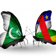 Stock Photo: Two butterflies with flags of Pakistand CAR on wings