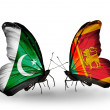 Stock Photo: Two butterflies with flags of Pakistand Sri Lankon wings