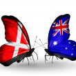 Stock Photo: Two butterflies with flags of Denmark and Australion wings