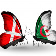 Stock Photo: Two butterflies with flags of Denmark and Algerion wings