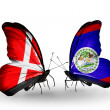 Stock Photo: Two butterflies with flags of Denmark and Belize on wings
