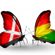 Stock Photo: Two butterflies with flags of Denmark and Bolivion wings