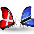 Stock Photo: Two butterflies with flags of Denmark and Botswanon wings