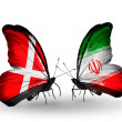 Stock Photo: Two butterflies with flags of Denmark and Iron wings