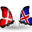 Stock Photo: Two butterflies with flags of Denmark and Iceland on wings