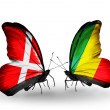 Stock Photo: Two butterflies with flags of Denmark and Kongo on wings