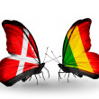 Stock Photo: Two butterflies with flags of Denmark and Mali on wings