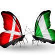 Stock Photo: Two butterflies with flags of Denmark and Nigerion wings