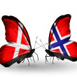 Stock Photo: Two butterflies with flags of Denmark and Norway on wings