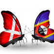 Stock Photo: Two butterflies with flags of Denmark and Swaziland on wings