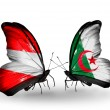 Stock Photo: Two butterflies with flags of Austriand Algerion wings