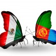 Stock Photo: Two butterflies with flags of Mexico and Eritreon wings