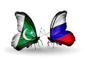 Two butterflies with flags of Pakistan and Russia on wings — Stock Photo
