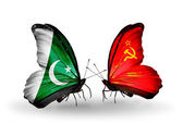 Two butterflies with flags of Pakistan and Soviet Union on wings — Photo