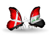 Two butterflies with flags of Denmark and Iraq on wings — Стоковое фото