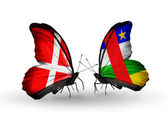 Two butterflies with flags of Denmark and CAR on wings — Stock Photo
