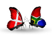 Two butterflies with flags of Denmark and South Africa on wings — Stock Photo