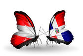 Two butterflies with flags of Austria and Dominicana on wings — Stock Photo