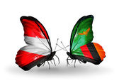 Two butterflies with flags of Austria and Zambia on wings — ストック写真