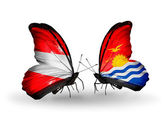 Two butterflies with flags of Austria and Kiribati on wings — Stock Photo