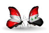 Two butterflies with flags of Austria and Syria on wings — Stock Photo