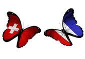 Duas borboletas com a suíça e a frança bandeiras voando — Fotografia Stock