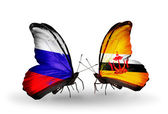 Two butterflies with flags of Russia and Brunei on wings — Stock Photo