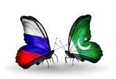 Two butterflies with flags of Russia and Pakistan on wings — ストック写真