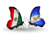 Two butterflies with flags of Mexico and Argentina on wings — Stock Photo