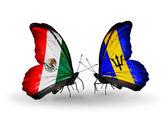 Twee vlinders met vlaggen van mexico en barbados op vleugels — Stockfoto
