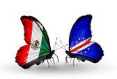 Två fjärilar med flaggor i mexiko och kap verde på vingar — Stockfoto