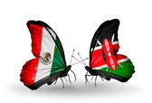 Two butterflies with flags of Mexico and Kenya on wings — Stock Photo