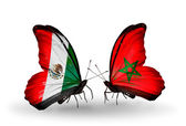 Two butterflies with flags of Mexico and Morocco on wings — Stock Photo