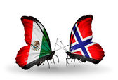 Two butterflies with flags of Mexico and Norway on wings — Stock Photo