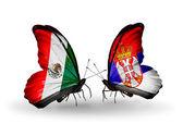 Dos mariposas con banderas de méxico y serbia en alas — Foto de Stock