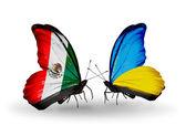 Due farfalle con bandiere del messico e ucraina sulle ali — Foto Stock