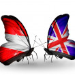 Butterflies with Austriand UK flags — Stock Photo #40328021