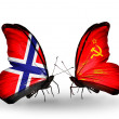 Stock Photo: Butterflies with Norway and Soviet Union flags on wings