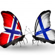 Stock Photo: Butterflies with Norway and Finland flags on wings