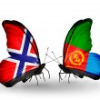 Stock Photo: Butterflies with Norway and Eritreflags on wings