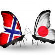 Zdjęcie stockowe: Butterflies with Norway and Japflags on wings