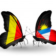 Zdjęcie stockowe: Butterflies with Belgium and Antiguand Barbudflags on wings