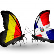Zdjęcie stockowe: Butterflies with Belgium and Dominicanflags on wings