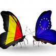 Stock Photo: Butterflies with Belgium and EU flags on wings