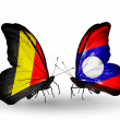 Zdjęcie stockowe: Butterflies with Belgium and Laos flags on wings