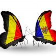 Zdjęcie stockowe: Butterflies with Belgium and Moldovflags on wings